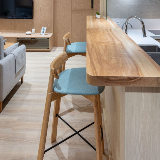 Elbow Bar Chair, Natural Ash, Blue Fabric