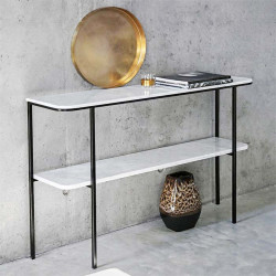 Marble Metal Shelf, Two layer Natural White Marble Top