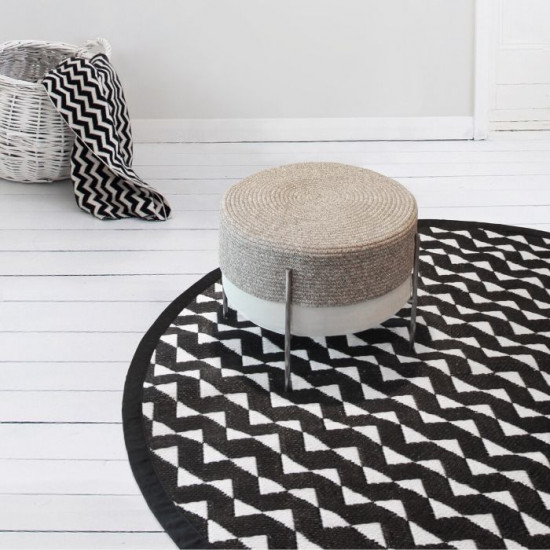 STRIDE Round Mat, Black & White, C