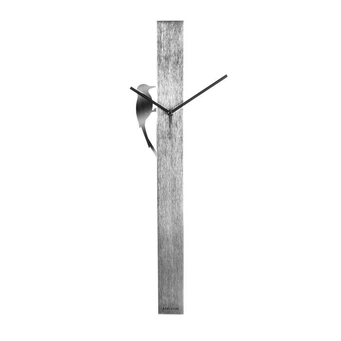 Wall Clock Woodpecker Tube - Silver