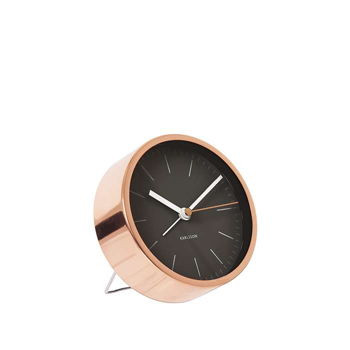 Alarm Clock Minimal - Black with copper