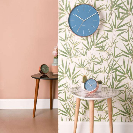 Alarm Clock Minimal - Jeans blue with copper