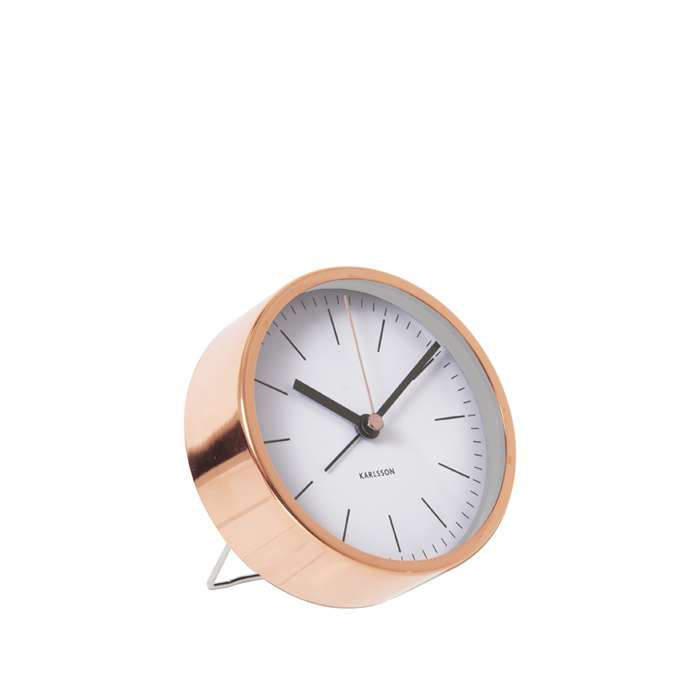 Alarm Clock Minimal - White with copper