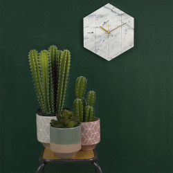 Wall clock Marble Hexagon - White