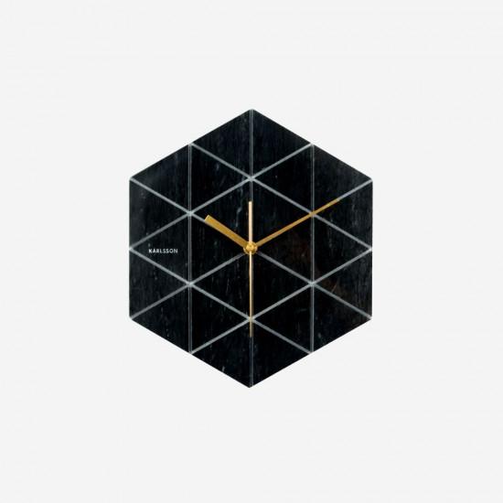 Wall Clock Marble Hexagon - Black