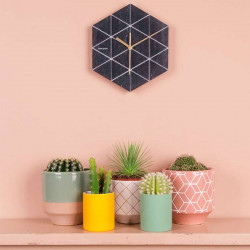 Wall Clock Marble Hexagon - Black
