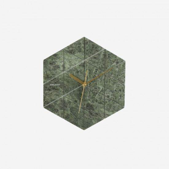 Wall Clock Marble Hexagon - Green