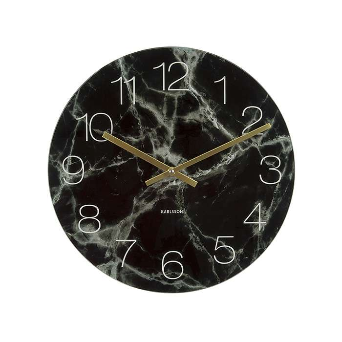 Glass Clock Marble - Black