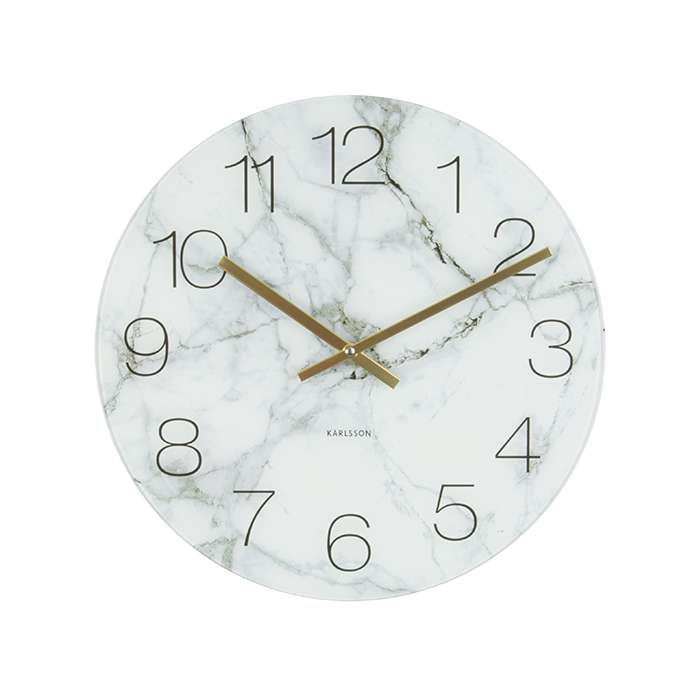 Glass Clock Marble - White
