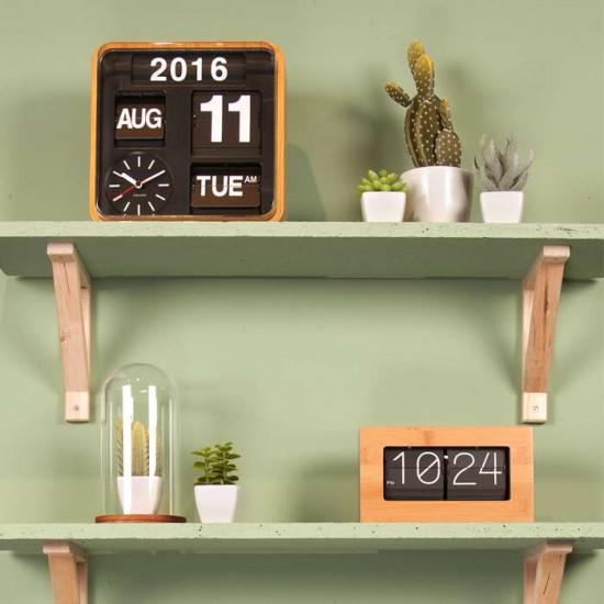 Flip Clock Boxed - Bamboo [Display]