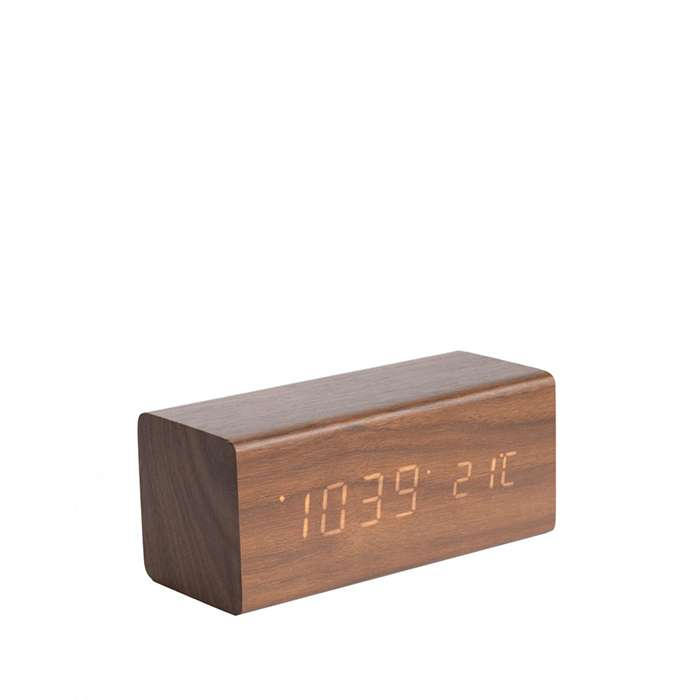 Alarm Clock Block - Dark Wood Veneer