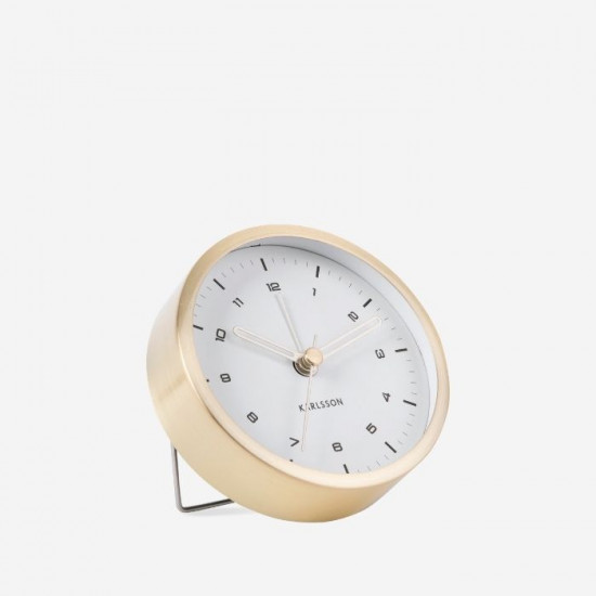 Alarm clock Tinge Steel - Gold with White Dial