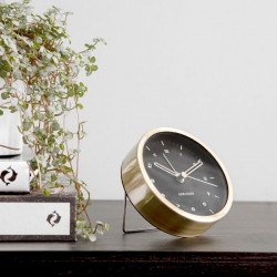 Alarm clock Tinge Steel - Gold with Black Dial