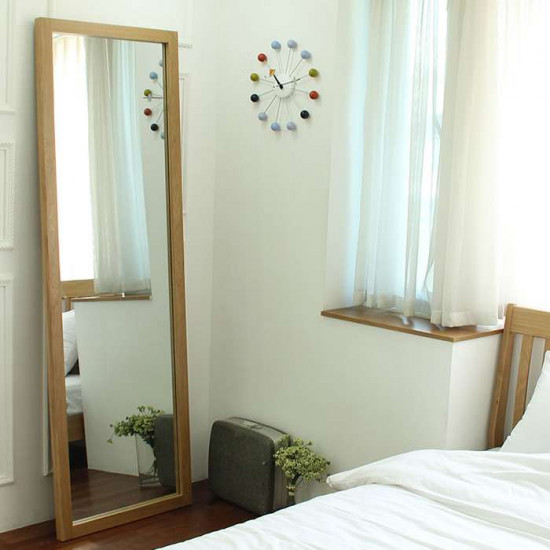 Solid Oak Floor Mirror H195