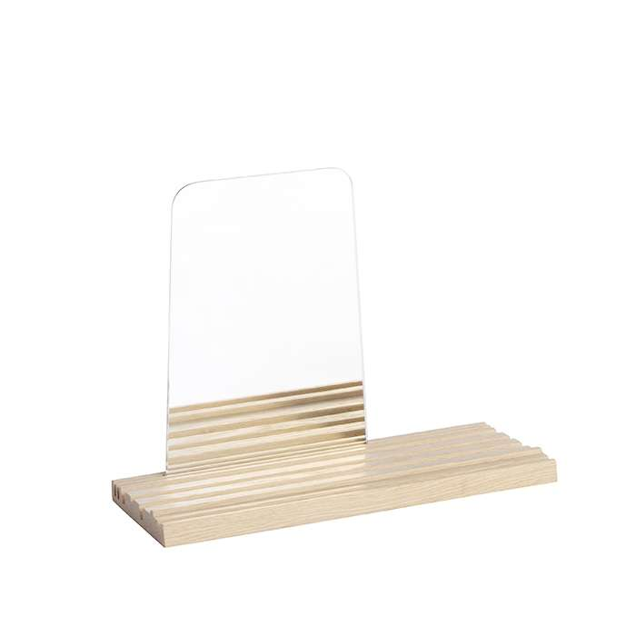 MIRROR STRIA W/TRAY NATURAL