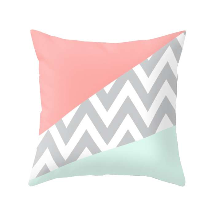 Original Mint & Coral Block Cushion
