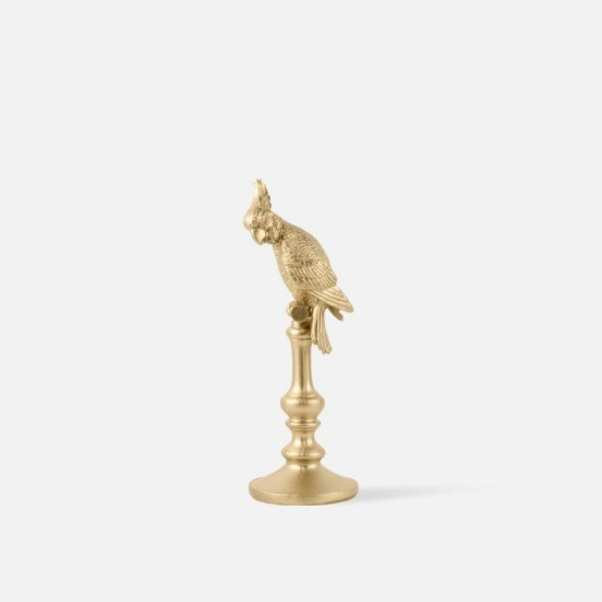 Statue Cockatoo Polyresin Gold Small