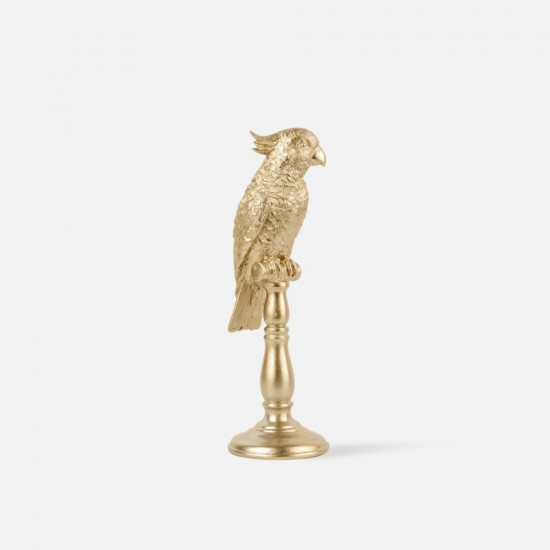 Statue Cockatoo Polyresin Gold Medium