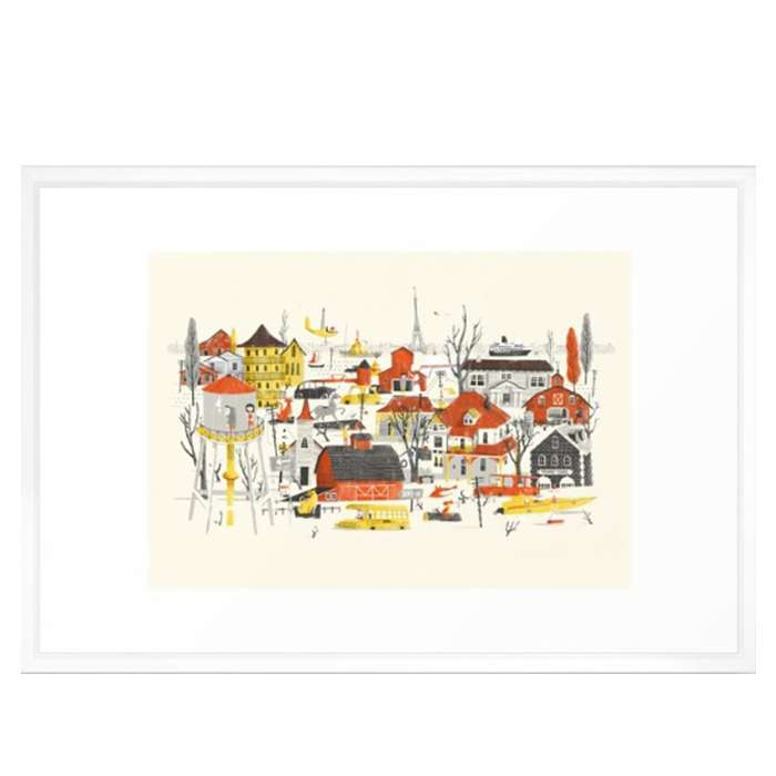 Hong kong travel poster illustration small for What kind of paint to use on kitchen cabinets for route 66 wall art