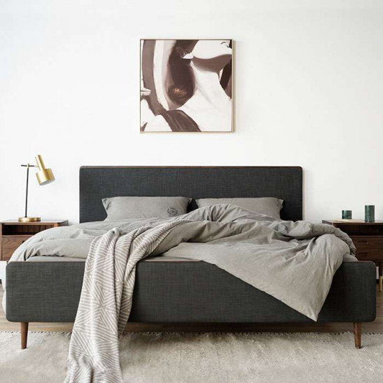 DANDY with Upholstered Natural Walnut Bed Frame