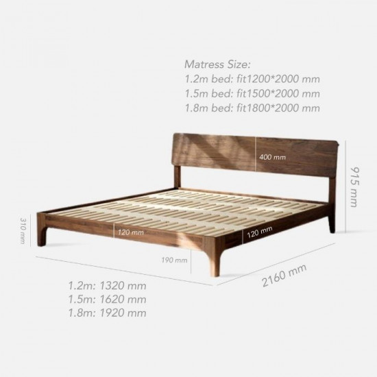 DANDY Bed Frame, Natural Walnut, new