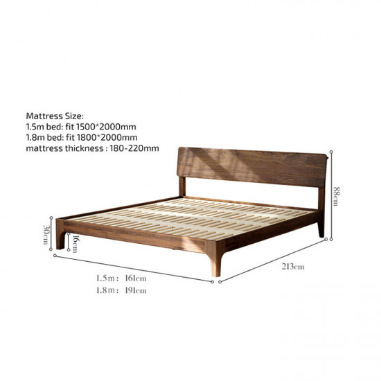 DANDY Bed Frame, Natural Walnut