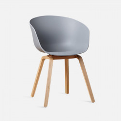 U Shape Armchair, W61, Grey ABS with Wooden Legs