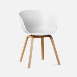 U Shape Armchair, W61, White ABS with Wooden Legs