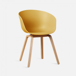 U Shape Armchair, W61, Yellow ABS with Wooden Legs
