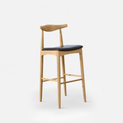 Elbow Round Bar Stool, W47, Natural Oak