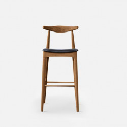 Elbow Round Bar Stool, W47, Walnut
