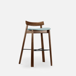 Elbow Bar Chair, Walnut Brown, Blue Fabric