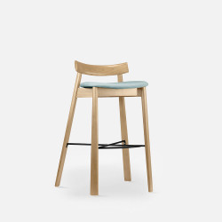 Elbow Bar Chair, Natural Ash, Blue Fabric