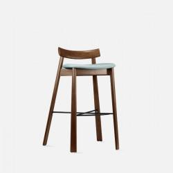Elbow Bar Chair, Walnut Brown, Blue Fabric