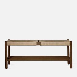 Unite Bench with rope weave, W110, Walnut