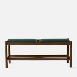 Unite Bench with Fabric W110 Walnut Green