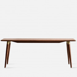 DANDY Bench with Brass, L120/L150 Natural Walnut