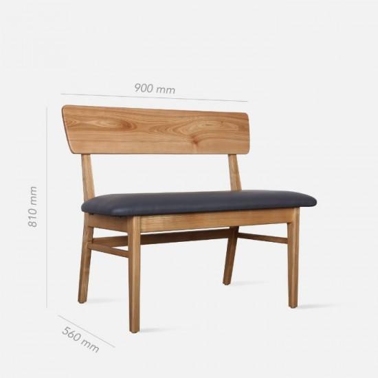 SEN Bench with Back, Natural Ash