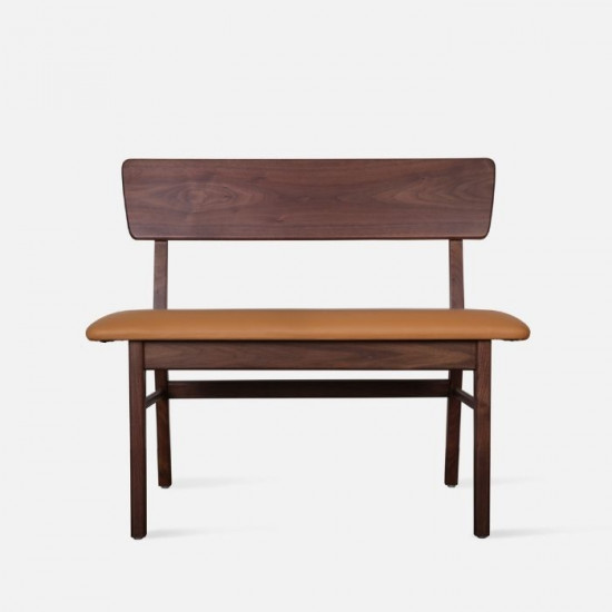 SEN Bench with Back, Natural Walnut