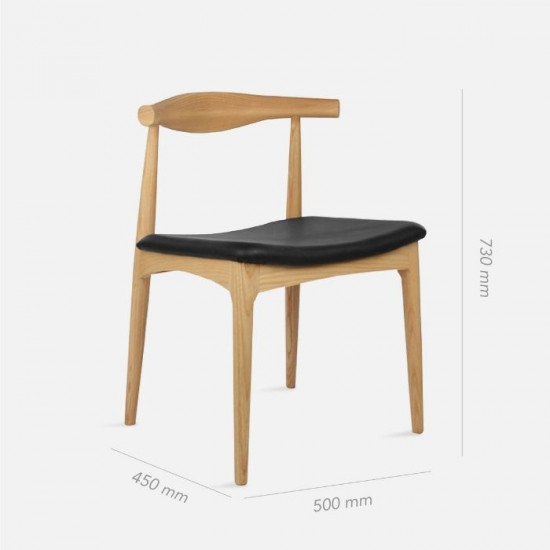 [Outlet] Elbow Style Chair - Oak with Black