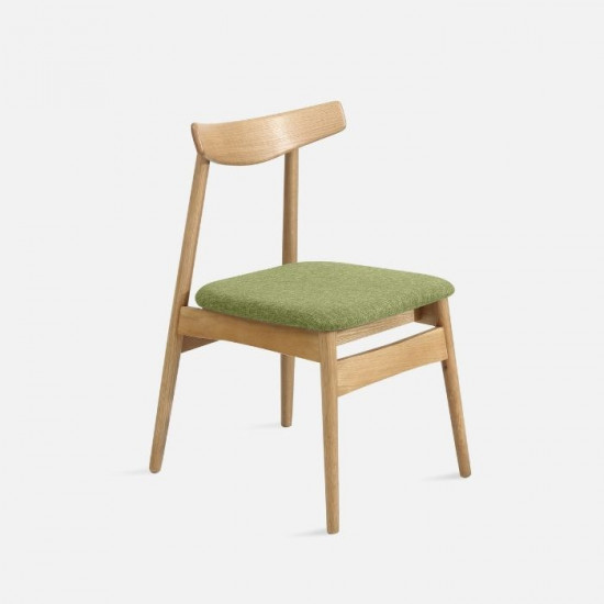 [Sale] Curve Chair W46 Oak with Green Fabric