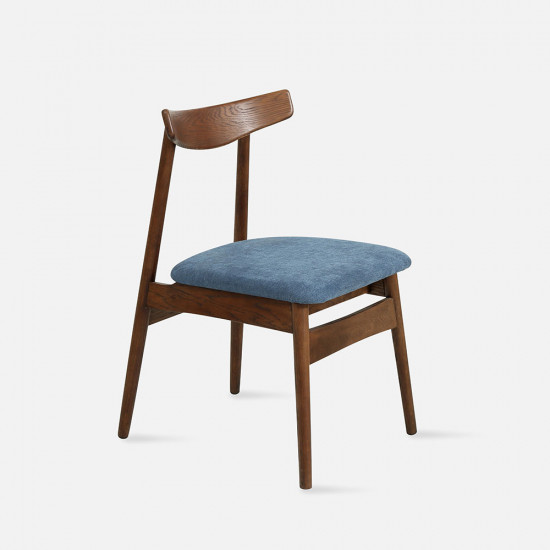 [Sale] Curve Chair W45 Walnut with blue cushion