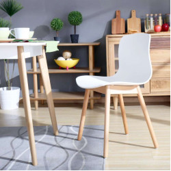 L Shape ABS, W47, White with Wooden legs