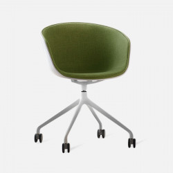 U Shape Armchair, W57, Green with Wheels