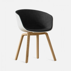 U Shape Armchair, W61, Dark Grey Fabric with Wooden Legs