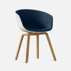 U Shape Armchair, W61, Blue Fabric with Wooden Legs