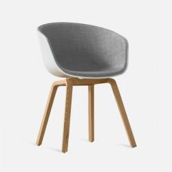 U Shape Armchair, W61, Grey Fabric with Wooden Legs