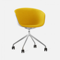 U Shape Armchair, W57, Yellow with Wheels