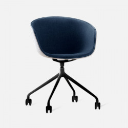 U Shape Armchair, W57, Blue with Wheels