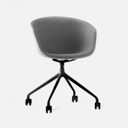 U Shape Armchair, W57, Grey with Wheels